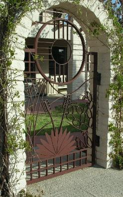 cactus gate with solid yucca leaves