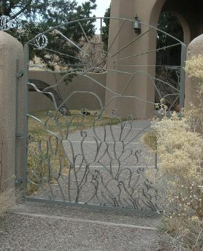 quail and prickly pear gate