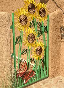 hand painted sunflower gate